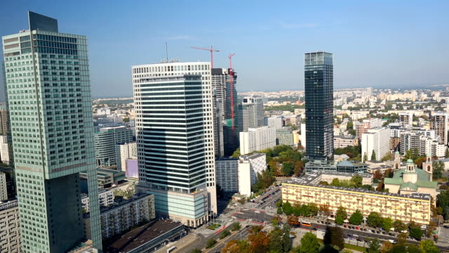 skyline warsaw, time lapse - warschau stock videos and b-roll footage