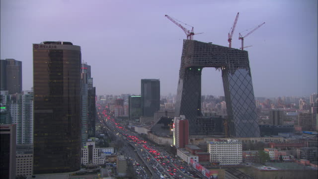 WS HA Skyline with CCTV tower under construction, Beijing, China