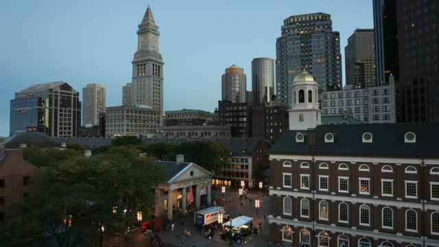 T/L WS HA Skyline with Faneuil hall, day to night transition, Boston, Massachusetts, USA
