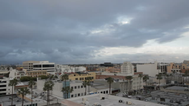 skyline with palm trees and colorful buildings - santa monica house stock videos & royalty-free footage
