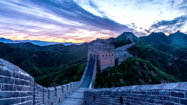skyline,cloudscape during sunset at greatwall,China,timelapse.
