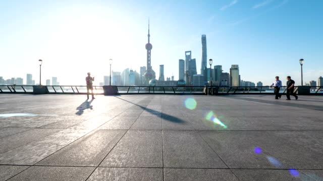 Skyline,commuter and modern buildings of shanghai during sunset.time lapse.