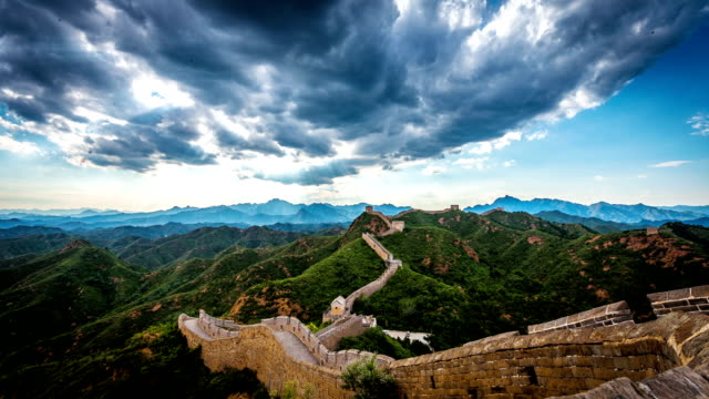 skyline,landscape and great wall in beijing,china.timelapse. - great wall of china stock videos & royalty-free footage
