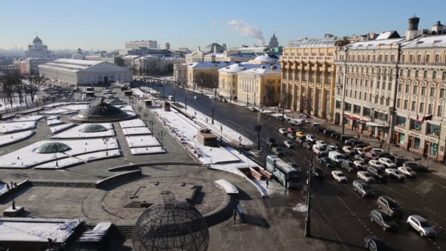 vídeos de stock, filmes e b-roll de skylines from the four seasons hotel of moscow russia on tuesday feb 10 2015 - four seasons hotel