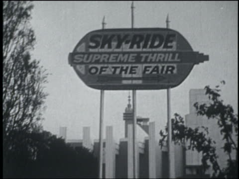 b/w 1933 skyride sign at chicago world's fair - 1933 stock videos & royalty-free footage