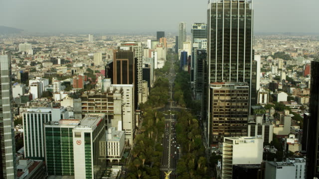 stockvideo's en b-roll-footage met skyscraper and tree-lined paseo de la reforma - mexico stad