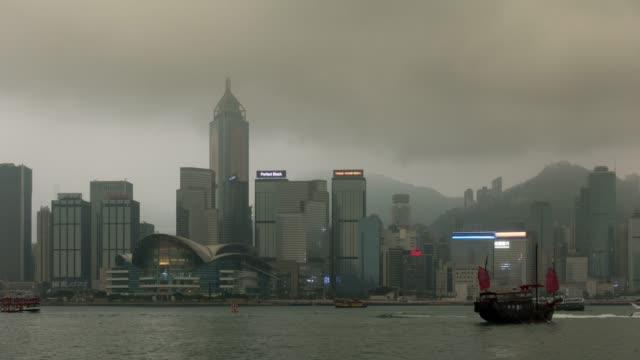 stockvideo's en b-roll-footage met 4k tl: wolkenkrabber in hong kong stad. - hong kong