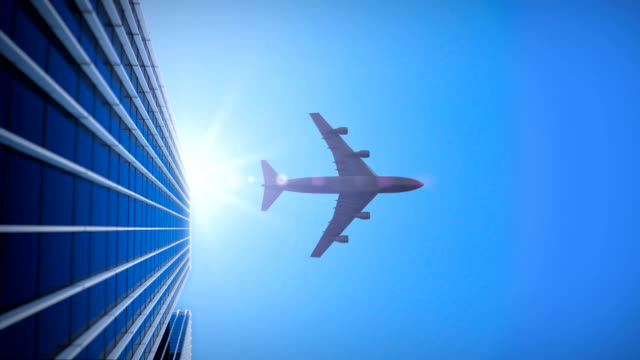 skyscraper with airplane - 4k - largo descrizione generale video stock e b–roll