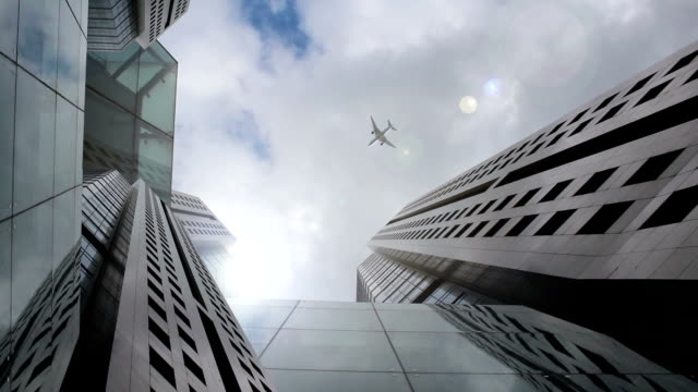 Skyscraper with Airplane
