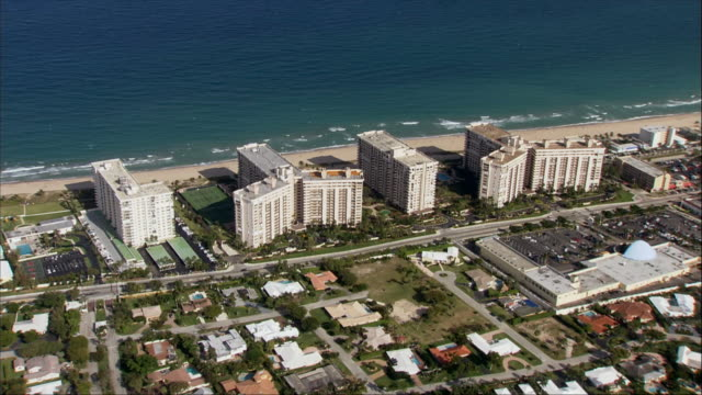 AERIAL, Skyscrapers along coastline, Miami, Florida, USA