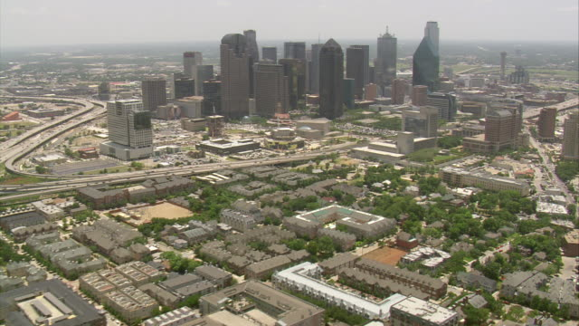 MS AERIAL Skyscrapers among Downtown Dallas / Texas, United States