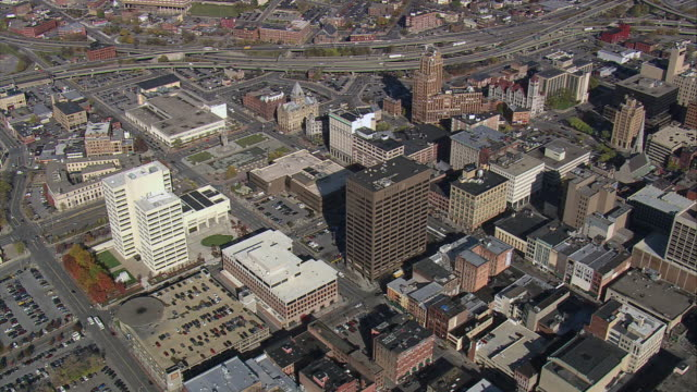 aerial skyscrapers and buildings downtown / syracuse, new york, united states - syracuse stock videos & royalty-free footage
