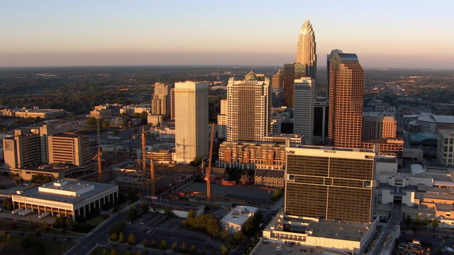 skyscrapers and high-rises comprise downtown charlotte, north carolina. - charlotte north carolina stock videos & royalty-free footage