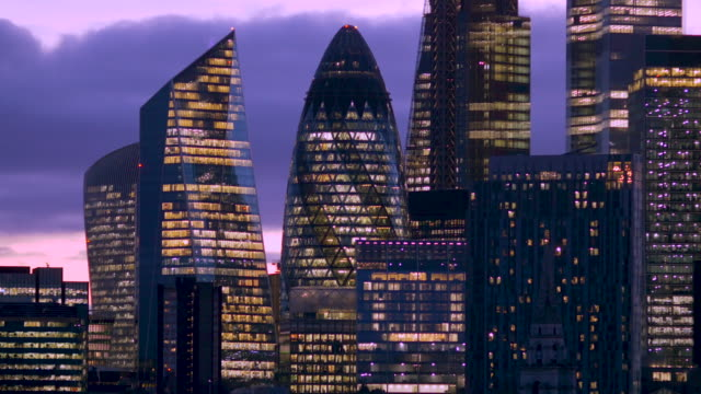 skyscrapers and office blocks of london's financial district - tall high stock videos & royalty-free footage