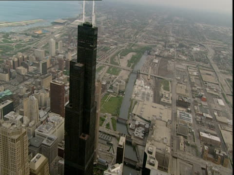low aerial, skyscrapers and sears tower, chicago, illinois, usa - willis tower stock videos and b-roll footage