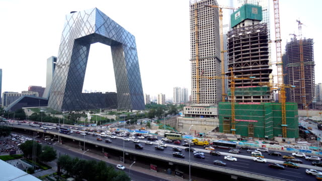 Skyscrapers and traffic at downtown district in Beijing,China.