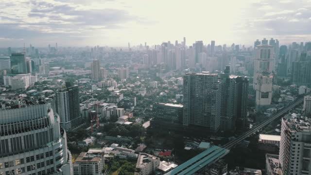 WS POV Skyscrapers and traffic in Bangkok city