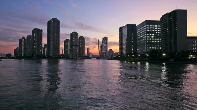 skyscrapers at dusk in tokyo - plusphoto stock videos & royalty-free footage