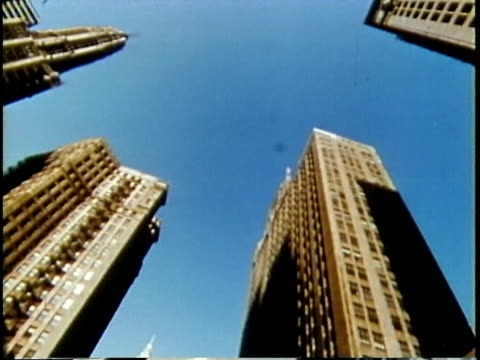 1963 LA POV Skyscrapers from moving car / Chicago, United States / AUDIO