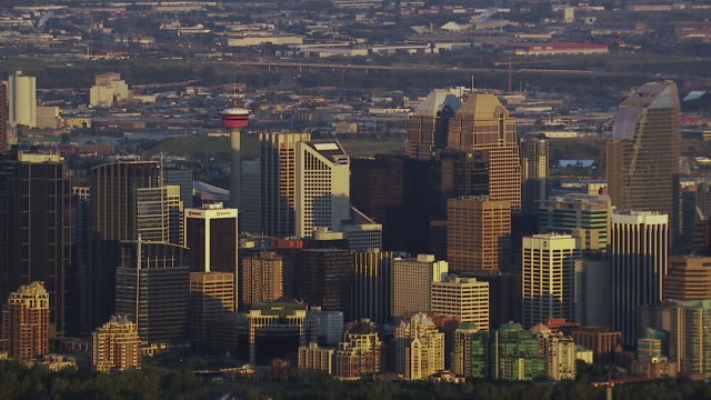skyscrapers in downtown calgary - calgary stock videos & royalty-free footage