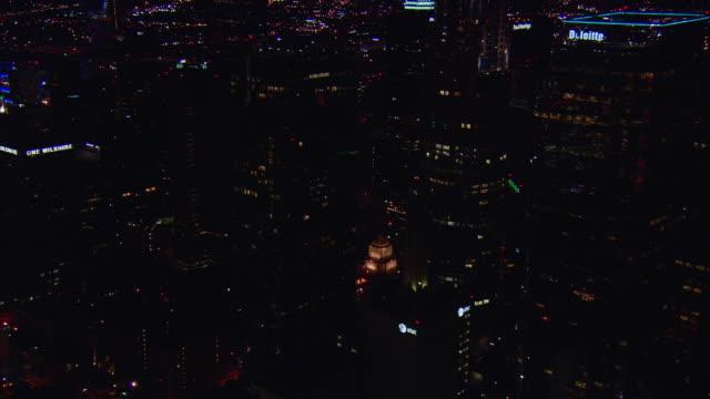 vídeos de stock, filmes e b-roll de aerial skyscrapers in downtown illuminated at night, los angeles, california, usa - 2009