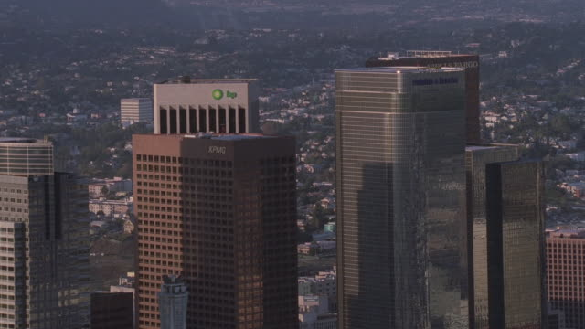 aerial skyscrapers in downtown los angeles / california, united states - 20世紀のスタイル点の映像素材/bロール