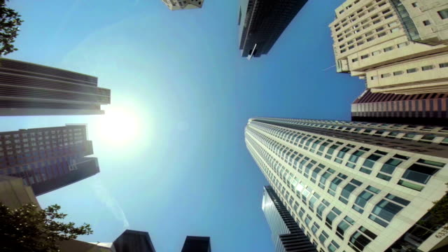 WS LA POV Skyscrapers In Downtown Los Angeles