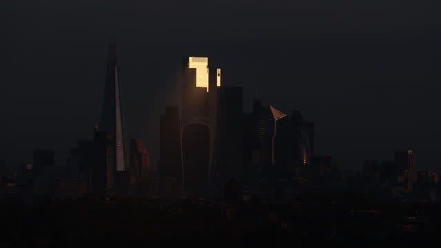 skyscrapers in financial district at night in london, uk, on thursday, october 26, 2020. - finance stock videos & royalty-free footage