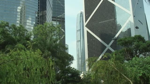 stockvideo's en b-roll-footage met ms zi cu skyscrapers in financial district, hong kong, china - hong kong