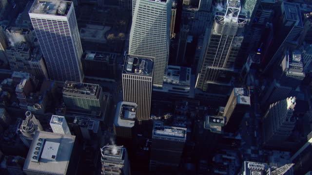 Skyscrapers in Midtown Manhattan, seen from a bird's eye view.