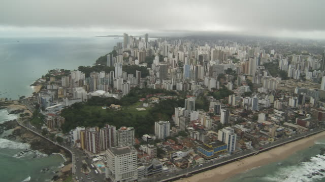 skyscrapers in salvador, brazil  crowd the atlantic coast. - bahia state stock videos and b-roll footage