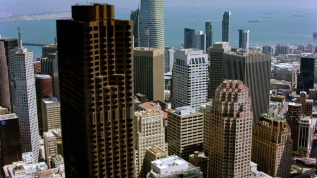 aerial skyscrapers in the financial district of san francisco, california. shot in usa. - helicopter point of view stock videos & royalty-free footage