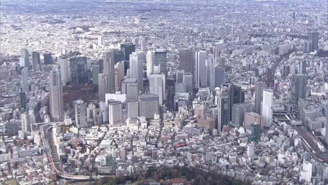 aerial, skyscrapers, nishi-shinjuku, tokyo, japan - 都市景観点の映像素材/bロール