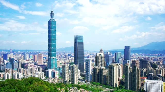 skyscrapers of a modern city with overlooking perspective under blue sky in taipei, taiwan - taipei 101 stock videos and b-roll footage