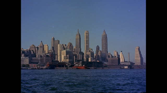 WS Skyscrapers of Lower Manhattan from New York Harbor / New York City, New York State, United States