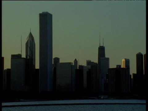 Skyscrapers on Chicago skyline at dusk, Illinois
