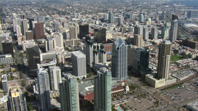 skyscrapers rise above san diego, california. - san diego stock-videos und b-roll-filmmaterial