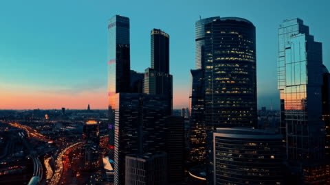 skyscrapers skyline at sunset - moscow russia stock videos & royalty-free footage