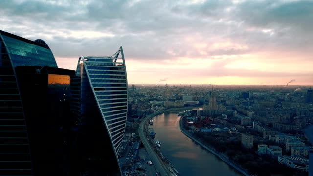skyscrapers skyline at sunset - architecture stock videos & royalty-free footage