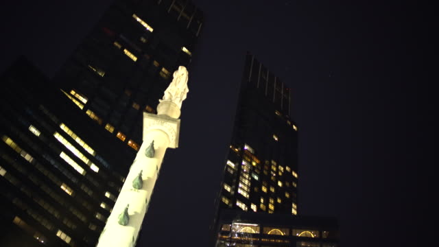 skyscrapers & time warner center, columbus circle (night time exteriors) - time warner center stock videos & royalty-free footage