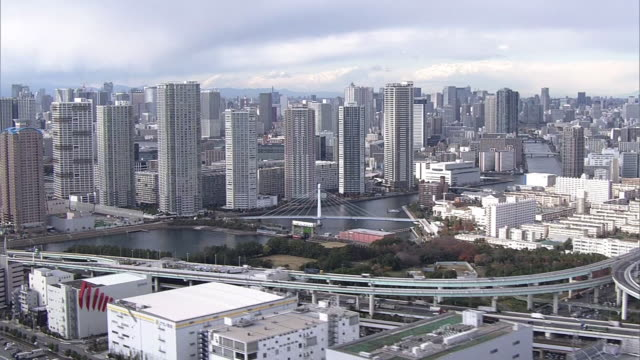 aerial, skyscrapers, tokyo bay area, japan - aircraft point of view stock videos and b-roll footage