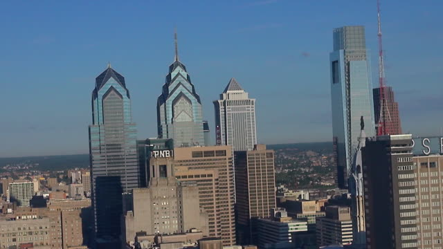skyscrapers tower above philadelphia's center city. - center city philadelphia stock videos and b-roll footage