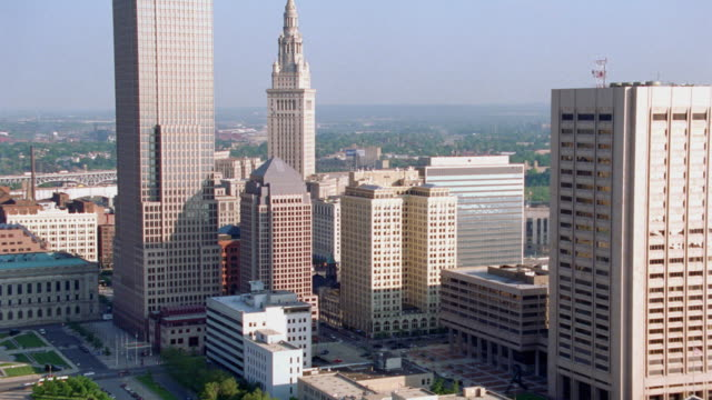 skyscrapers tower in downtown cleveland. - 2003 stock videos & royalty-free footage
