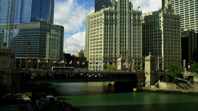 skyscrapers tower over chicago's michigan avenue bridge. - michigan avenue bridge stock videos and b-roll footage