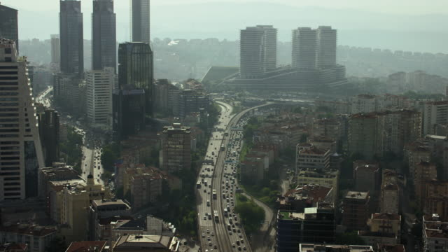 Skyscrapers With Busy Istanbul Freeway