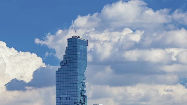 tl, skyscrapers with clouds reflected in glass walls office building. - angle stock videos & royalty-free footage