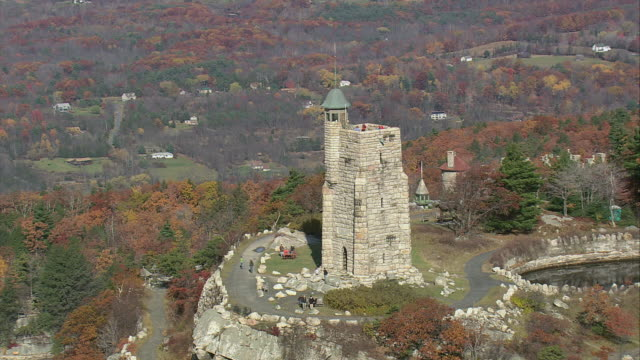 AERIAL Skytop Tower rising above Mohonk Mountain House / New Paltz, New York, United States