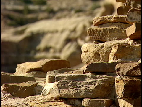 slabs of stone comprise the ruinous walls of the casa rinconada in chaco canyon, new mexico. - chaco canyon stock videos & royalty-free footage
