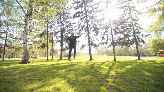 slacklining is my passion - tightrope walking stock videos & royalty-free footage