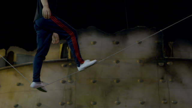 slackwire training at 'ovo cirque du soleil' behind the scenes at royal albert hall on january 09 2018 in london england - cirque du soleil stock videos & royalty-free footage